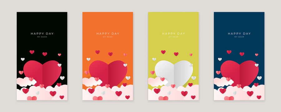 Set of pink yellow blue happy valentine's day vertical banners, posters, cards or flyers with origami hearts in paper cut style. Design template for advertising, web, social media, stories templates