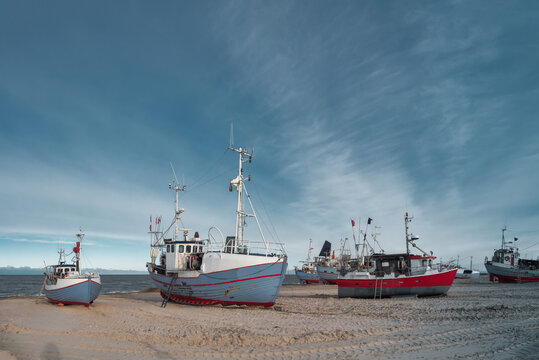 Thorupstrand cutters fishing vessels for traditional fishery at the North Sea coast in Denmark