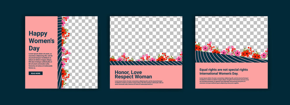 Social media post templates for women's day. Women's day cute greeting card set with flowers.