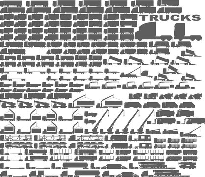 truck - trucks - big set - package - lorry - semi trailer - trailer - transport - transportation - shape - silhouette - icon - monochrome