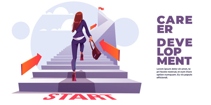 Career development banner. Concept of self build career, personal growth, professional progress. Vector landing page with cartoon illustration of business woman run up stair to top