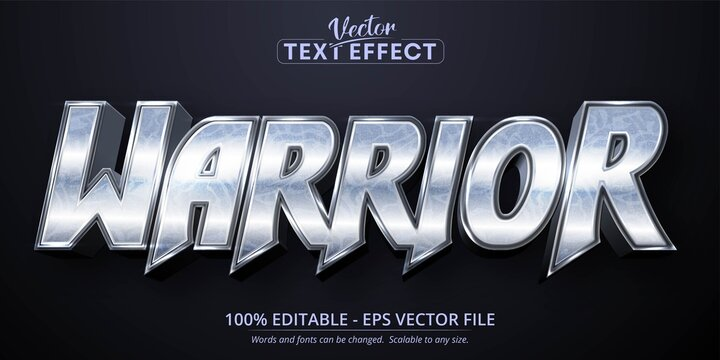 Warrior text, shiny silver style editable text effect