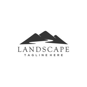 Mountain peaks river minimalist landscape hills  logo design