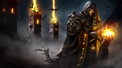 Fototapeta The sinister skeleton lich forms a sphere of fire in his hands, his eyes glowing with magic, he is wearing a ragged cloak and armor, and behind him, the magic towers fire a volley into the night sky. obraz