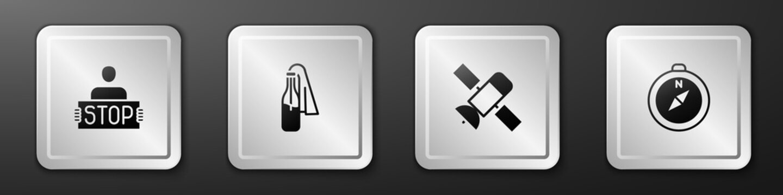 Set Stop war, Cocktail molotov, Satellite and Compass icon. Silver square button. Vector.