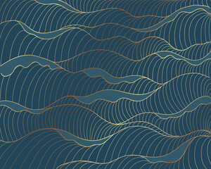 Golden lines, waves pattern on blue background. Sea abstract luxury gold line arts wallpaper. Invitation packaging design, Vector illustration