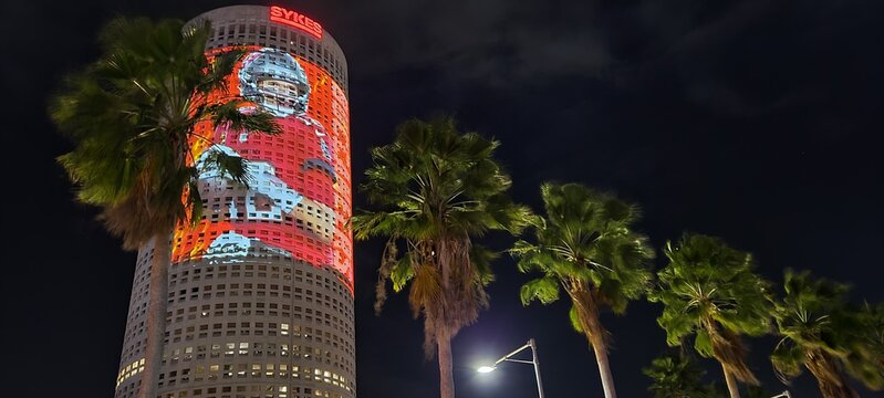 Tampa, Florida USA - January 31 , 2021: View of the Tampa Downtown Building with Tom Brady Buccaneer player projection for the Superbowl LV