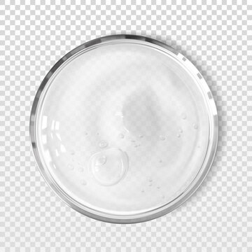 Aloe vera gel in petri dish isolated realistic vector illustration. Concept cosmetic skincare laboratory tests and research. Clear transparent  cosmetic texture