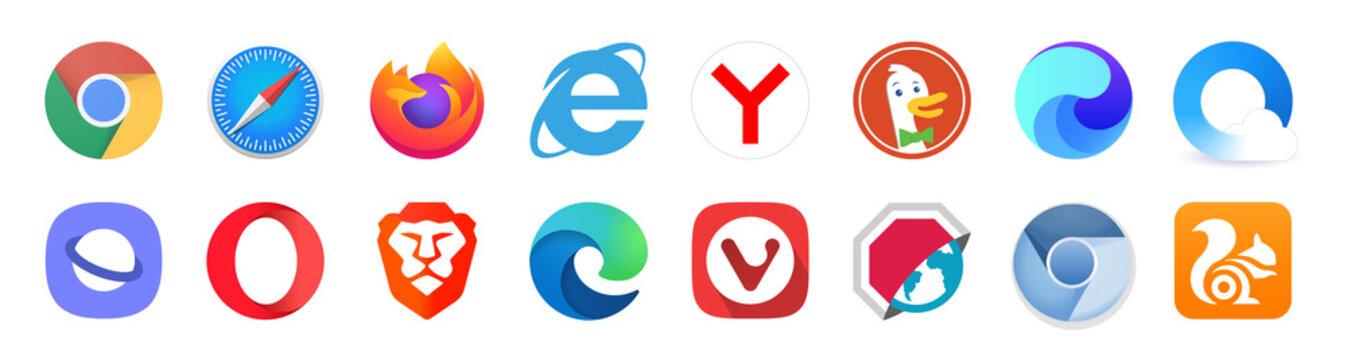 Set popular logos internet browser. Google Chrome, Mozilla Firefox, Microsoft Edge, Internet Explorer, Safari, Opera, Yandex, Brave, UC Browser. Editorial vector