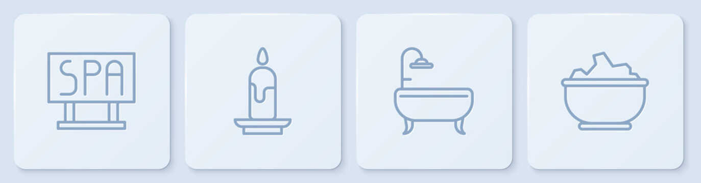 Set line Spa salon signboard, Bathtub, Burning candle and Sea salt bowl. White square button. Vector.