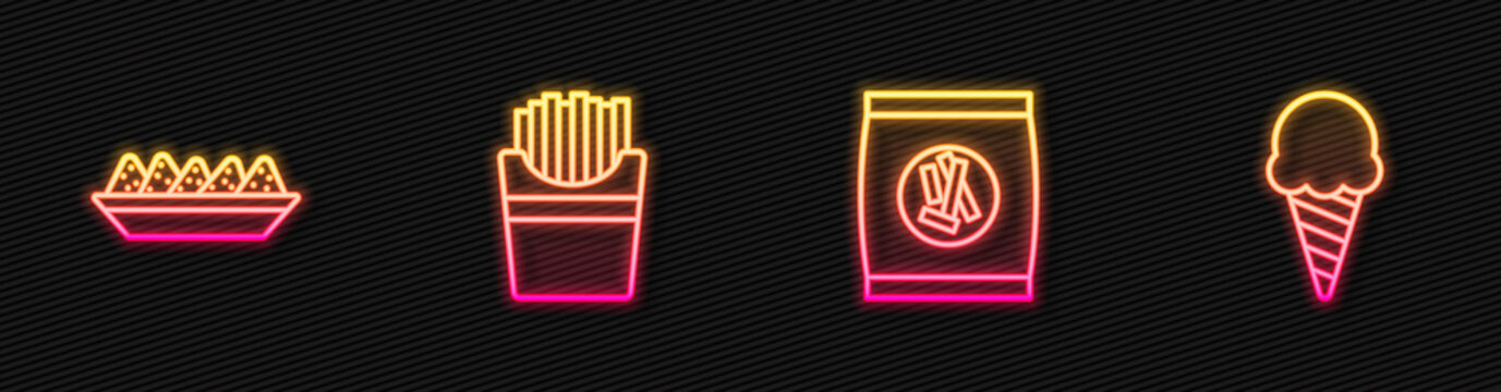 Set line Hard bread chucks crackers, Nachos in plate, Potatoes french fries box and Ice cream waffle cone. Glowing neon icon. Vector.