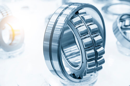 The cylindrical rolling bearing part with lighting effect. The mechanical part manufacturing concept .
