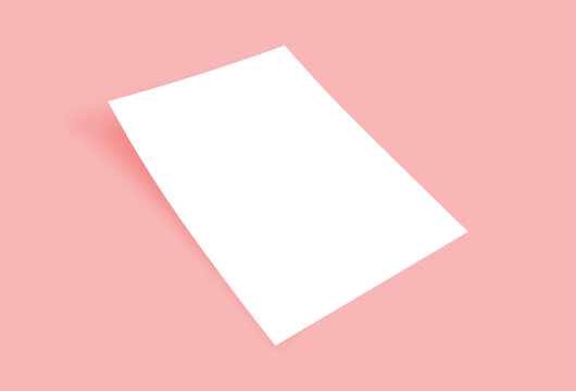 white blank A4 papers with shadows on the pink background. Templates for presentation of design like flyer, cover, poster. mock up design template