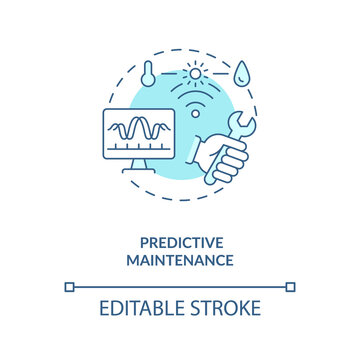 Predictive maintenance concept icon. Industry 4.0 trend idea thin line illustration. Detecting anomalies in operation and possible defects. Vector isolated outline RGB color drawing. Editable stroke