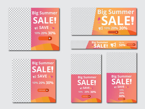 Web banners templates, standard sizes with space for photo, modern design