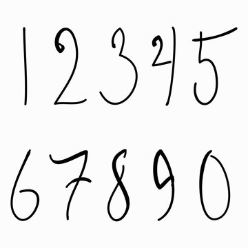 Hand drawn and sketched numbers set. Vector illustration eps.10