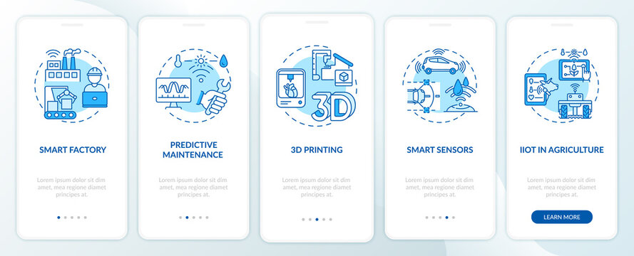 Industry 4.0 tendency onboarding mobile app page screen with concepts. Smart farming, 3D printing, sensors walkthrough 5 steps graphic instructions. UI vector template with RGB color illustrations