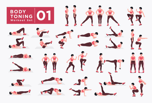 Women Workout Set. Women doing fitness and yoga exercises. Lunges, Pushups, Squats, Dumbbell rows, Burpees, Side planks, Situ ps, Glute bridge, Leg Raise, Russian Twist, Side Crunch .etc