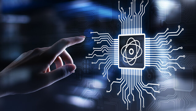 Quantum processor chip powerful supercomputer, Modern technology and computing concept on virtual screen.