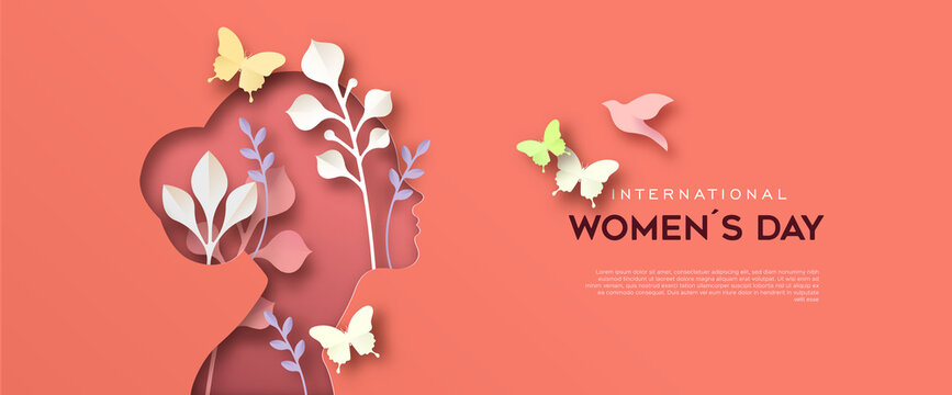 International Women Day paper cut woman card