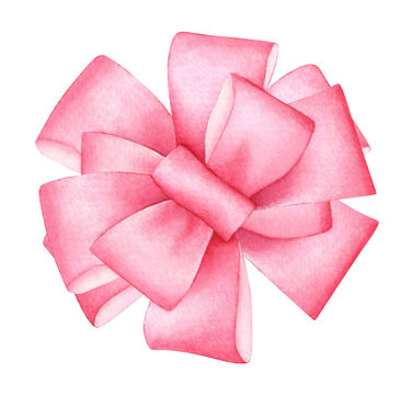 Watercolor drawing of a silk pink bow