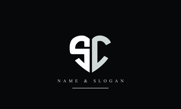SC, CS, S, C Letter Logo Design with Creative Modern Trendy Typography
