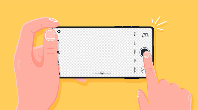 Taking photo with smartphone. Person taking a photograph with a smart phone camera from a first-person perspective. Pressing camera button, transparent background for photo. Vector illustration.