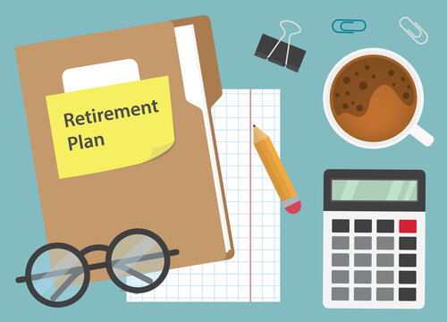 retirement plan written on yellow sticky note, planning retire concept- vector illustration