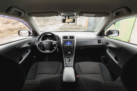 Dnipro, Ukraine - January 25, 2021: Toyota Corolla 2011, silver color, car interior
