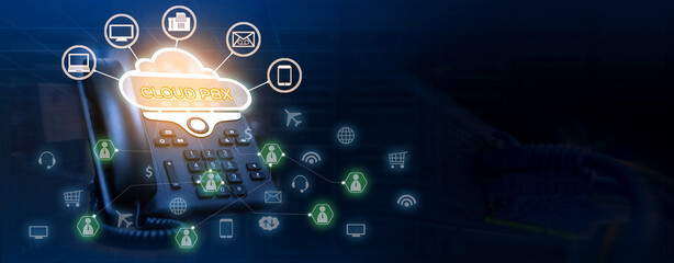 Cloud pbx concept of ip telephone device with voip services icons connectivity on double exposure...