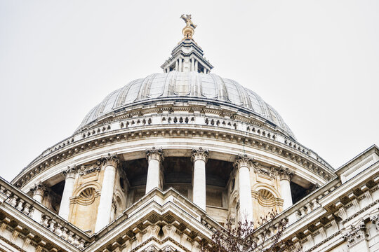 LONDON, UK - 18 FEBRUARY, 2017: St Paul's Cathedral is an Anglican cathedral, the seat of the Bishop of London and the mother church of the Diocese of London