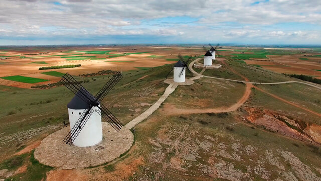 Landscape of old white mills typical of Spain. Consuegra, Toledo. Castilla la Mancha