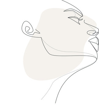 Line art modern portrait of woman with beige shape. One line art modern female portrait for concept design. Contemporary feminine portrait. Elegant lineart illustration of woman with abstract vector s