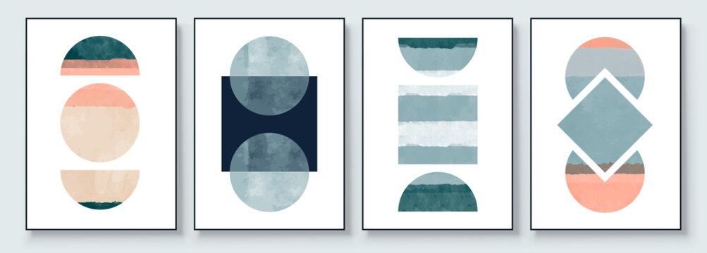 Mid-Century Modern Design. Aesthetic watercolor. A trendy set of Abstract Hand Painted Illustrations for Postcard, Social Media Banner, Brochure Cover Design or Wall Decoration Background.