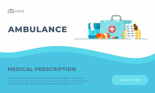 Packing a first aid kit for the hospital. Vector illustration of pills and medications. Online ordering to the hospital. Pharmacist help.