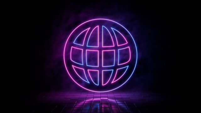 Pink and blue neon light web icon. Vibrant colored internet technology symbol, isolated on a black background. 3D Render