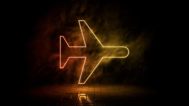 Orange and yellow neon light airplane icon. Vibrant colored technology symbol, isolated on a black background. 3D Render