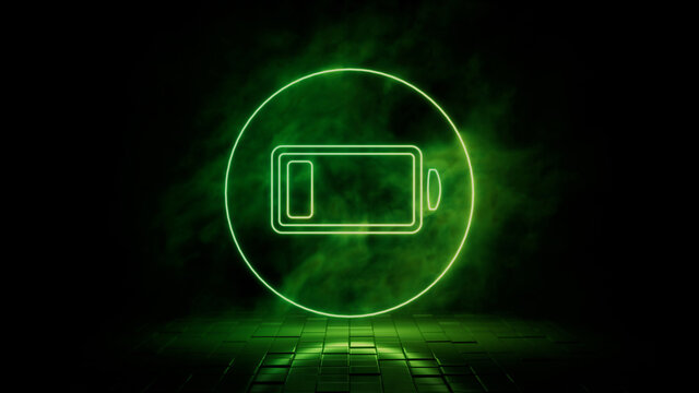 Green neon light low battery icon. Vibrant colored technology symbol, isolated on a black background. 3D Render