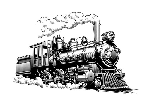 Vintage steam train locomotive, engraving style vector illustration