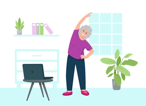 Home fitness or yoga for senior concept.