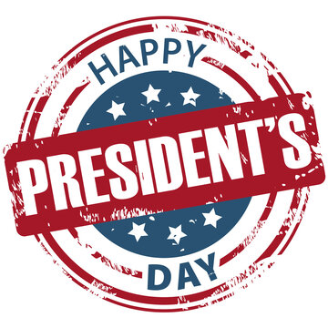 Happy Presidents day rubber stamp icon isolated on white background. Happy President's day symbol.