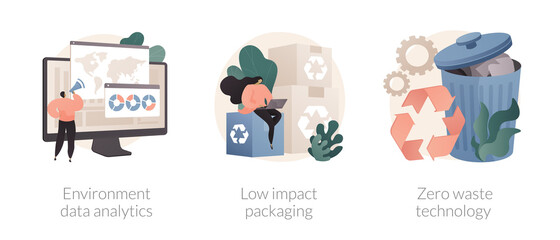 Reuse reduce recycling abstract concept vector illustration set. Environment data analytics, low impact packaging, zero waste technology, eco friendly, plastic free container abstract metaphor.