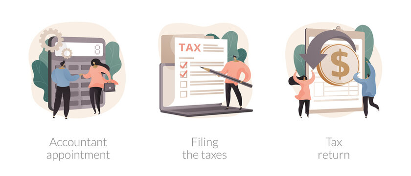 Tax agent service abstract concept vector illustration set. Accountant appointment, filing the taxes, money refund, income statement and financial audit, e-file online software abstract metaphor.