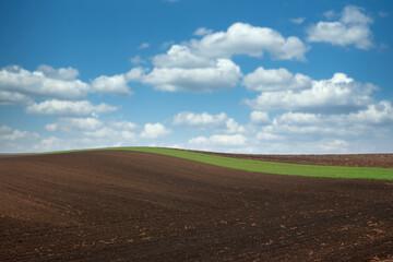 plowed field landscape spring season