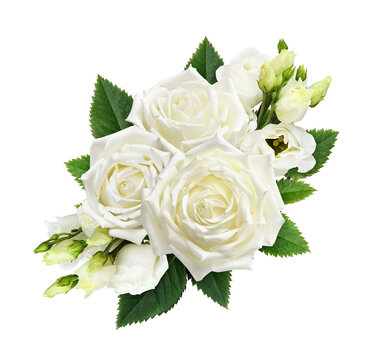 Bouquet of white roses and eustoma flowers isolated on white