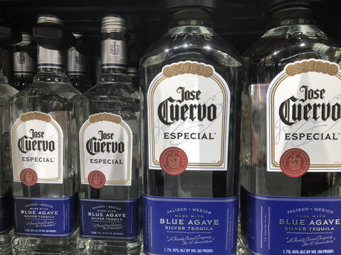 Indianapolis - Circa January 2021: Jose Cuervo Tequila display. Jose Cuervo sells 3.5 million cases of tequila in the US annually.