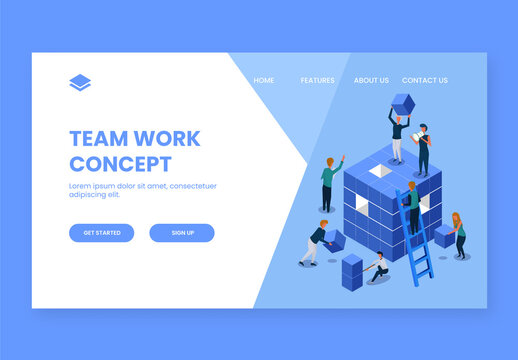Isometric View of Business People Working Together to Complete the Project for Teamwork Concept Based Landing Page
