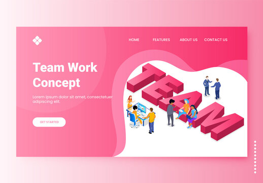 Responsive Landing Page Design, 3D Team Text with Business People Working Together on Pink and White Background