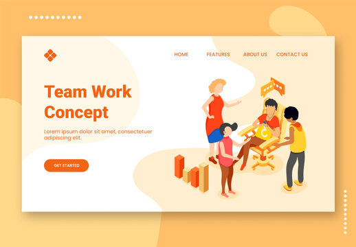 Team Work Concept Based Landing Page Design with People Discussing Something Together and 3D Bar Graph