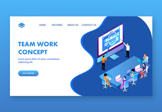 Team Work Concept Based Landing Page Design, Group of Business People Working at the Workplace